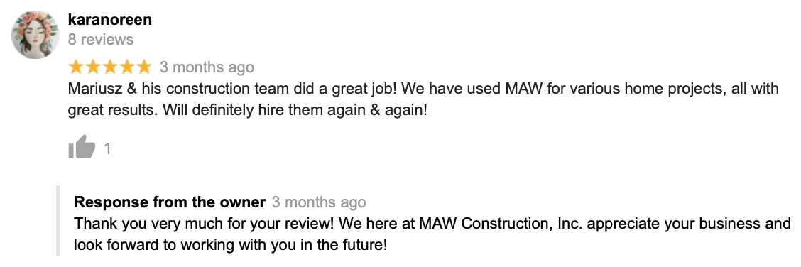 MAW Construction Reveiws
